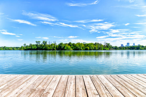 Dock on Lake in the City of Lakes - Minneapolis Dock on Lake in the City of Lakes - Minneapolis lake stock pictures, royalty-free photos & images