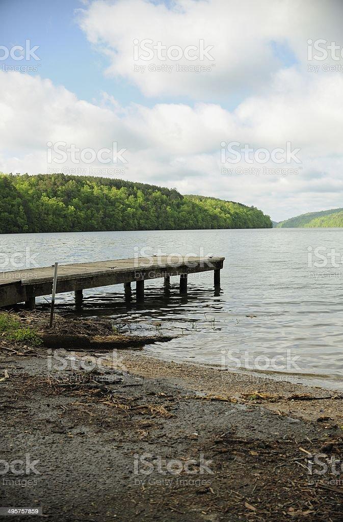 Dock on river stock photo