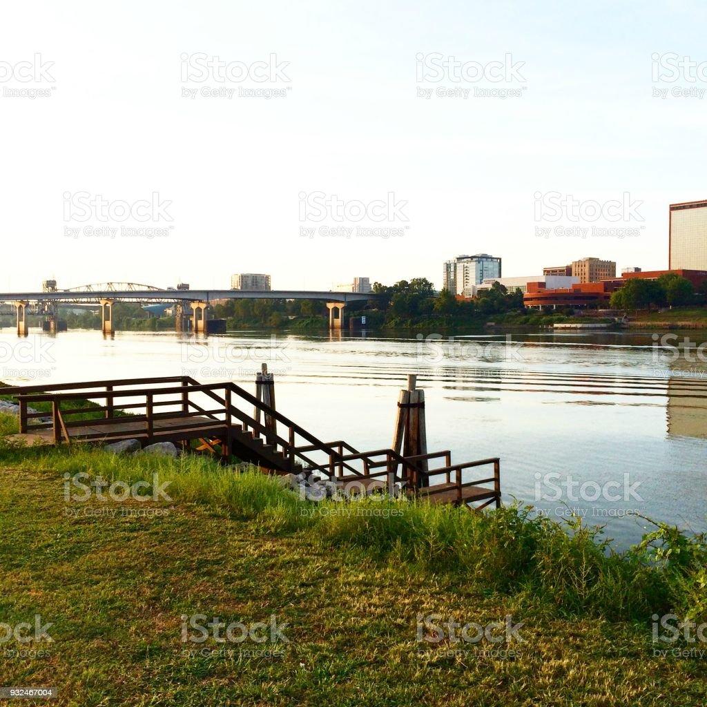 Dock On The Arkansas River stock photo