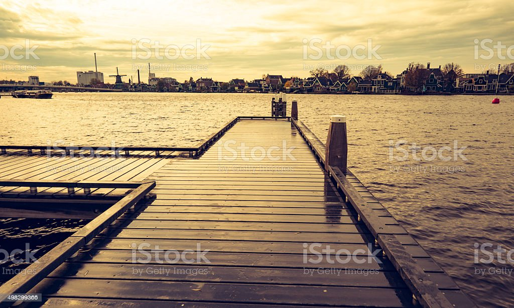 Dock over waterfront, Netherland Countryside stock photo