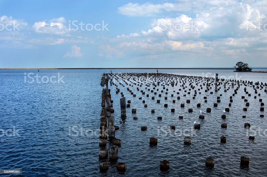 Dock Remnants at Marquette stock photo