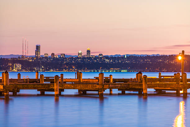 dock with background of Bellevue cityscape with reflection. stock photo