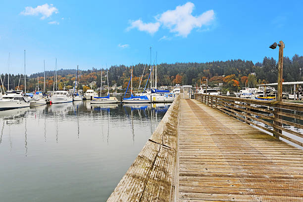 Dock with water view Old wooden dock with water view and boats. Gig Harbor. gig harbor stock pictures, royalty-free photos & images
