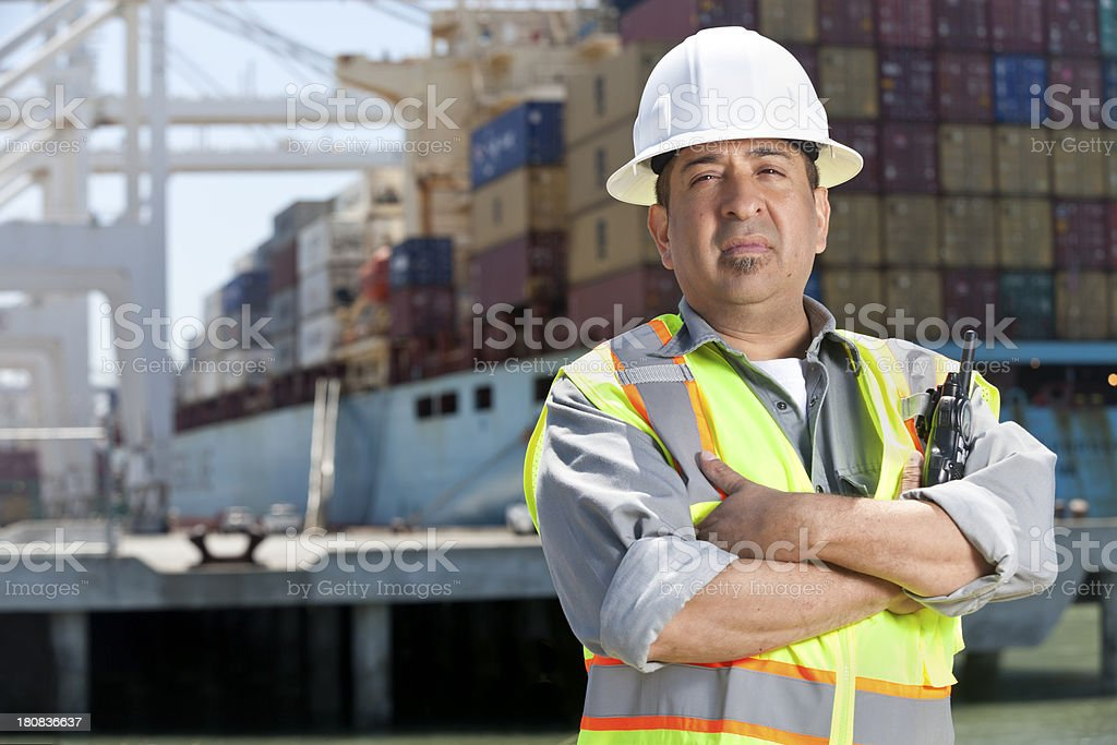 Dock Worker at Port stock photo