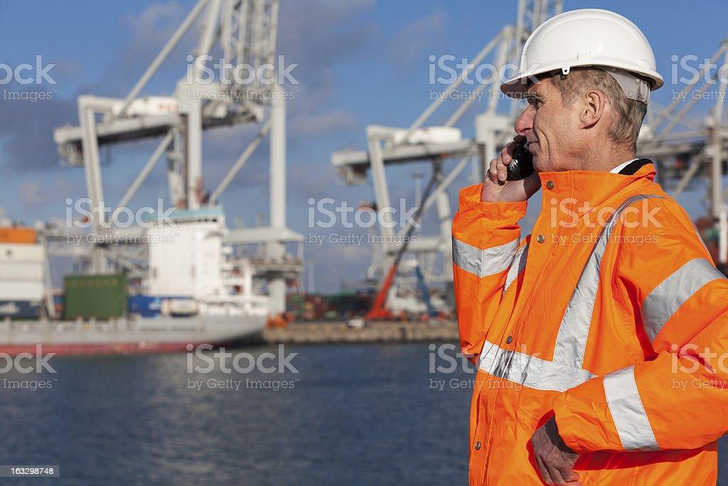 Dock worker stock photo