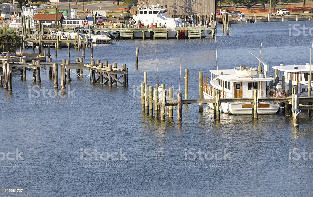 docked boats in Biloxi, Mississippi stock photo