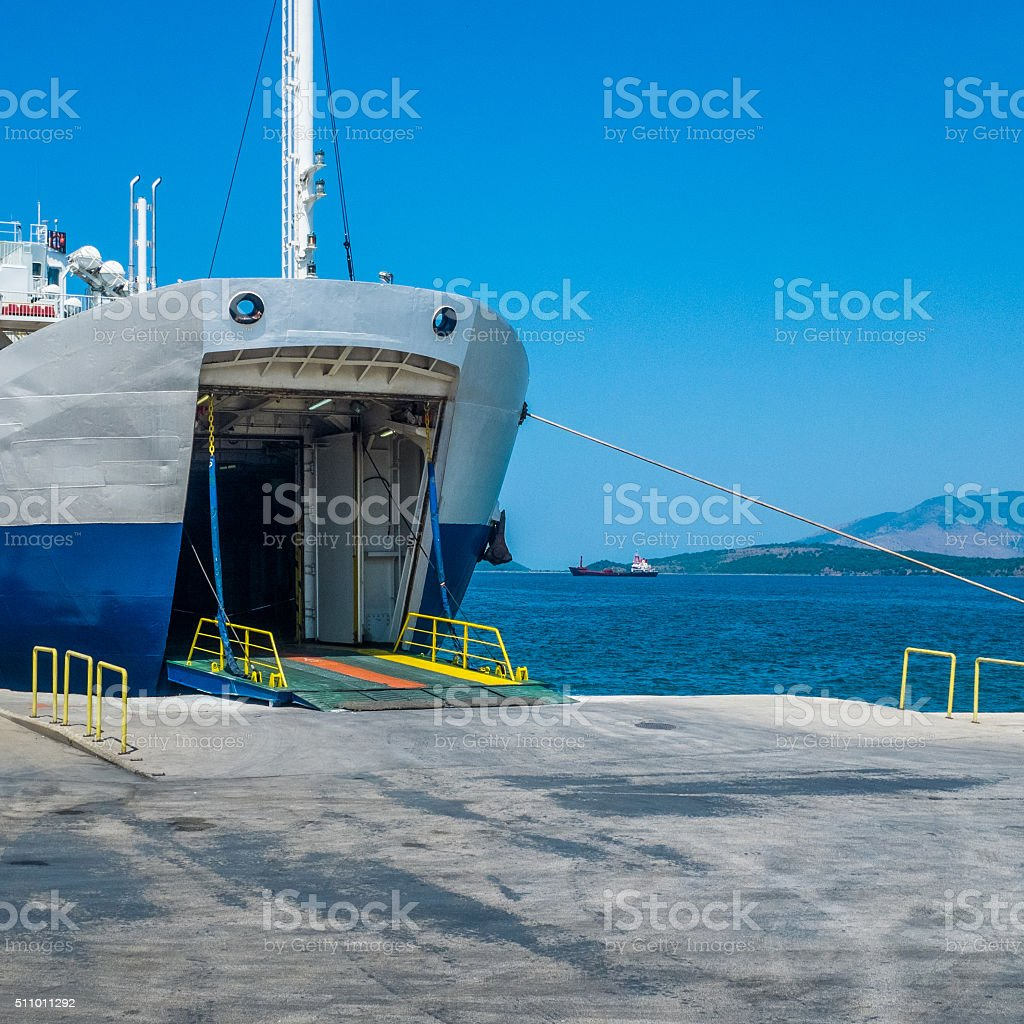 Docked ferryboat waiting for passengers stock photo