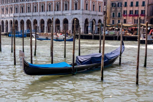 Docked gondola in Venice, Italy stock photo