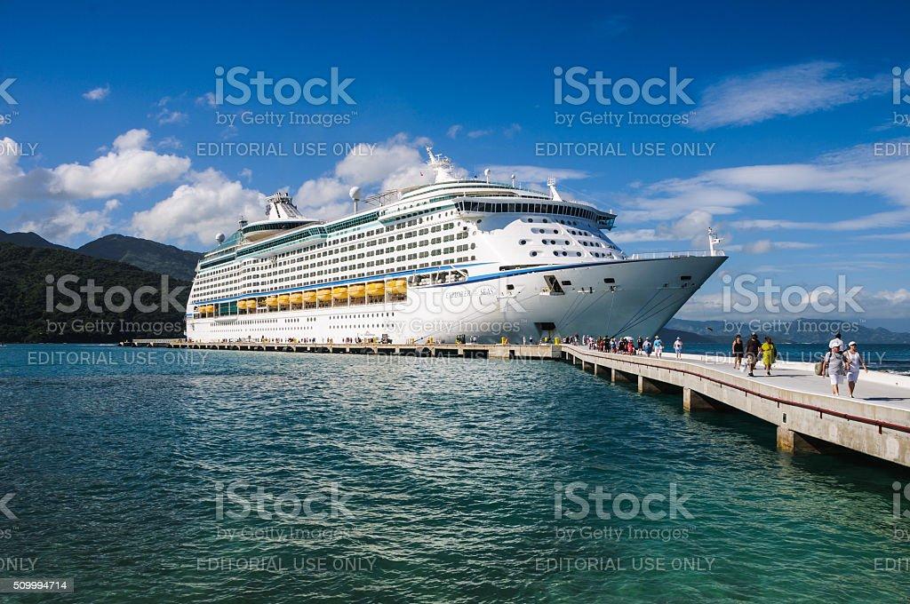 Docked in Labadee stock photo