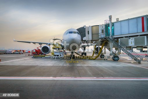 istock Docked jet aircraft in Dubai airport 491806606