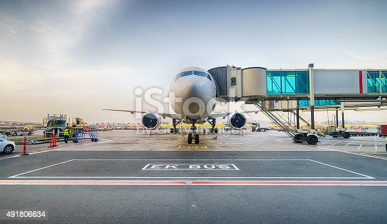 istock Docked jet aircraft in Dubai airport 491806634