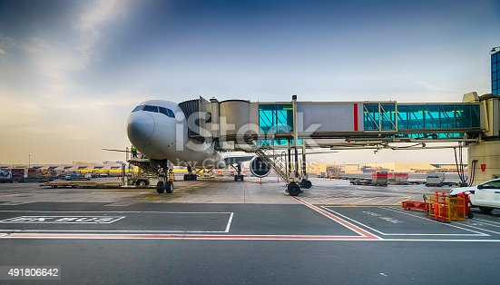istock Docked jet aircraft in Dubai airport 491806642