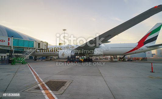 istock Docked jet aircraft in Dubai airport 491806668