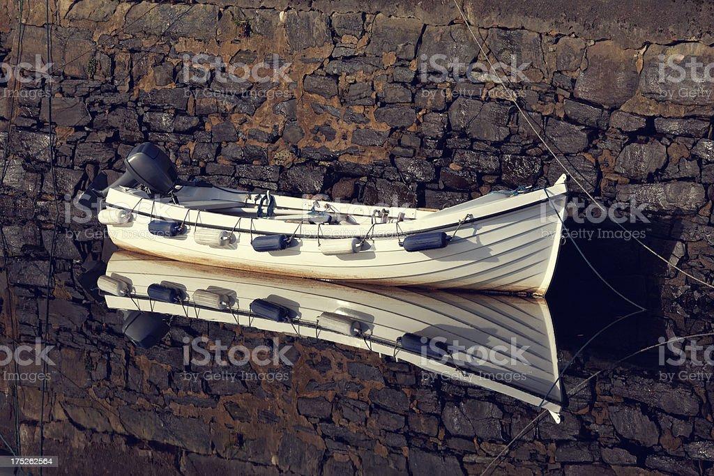 docked motorboat royalty-free stock photo