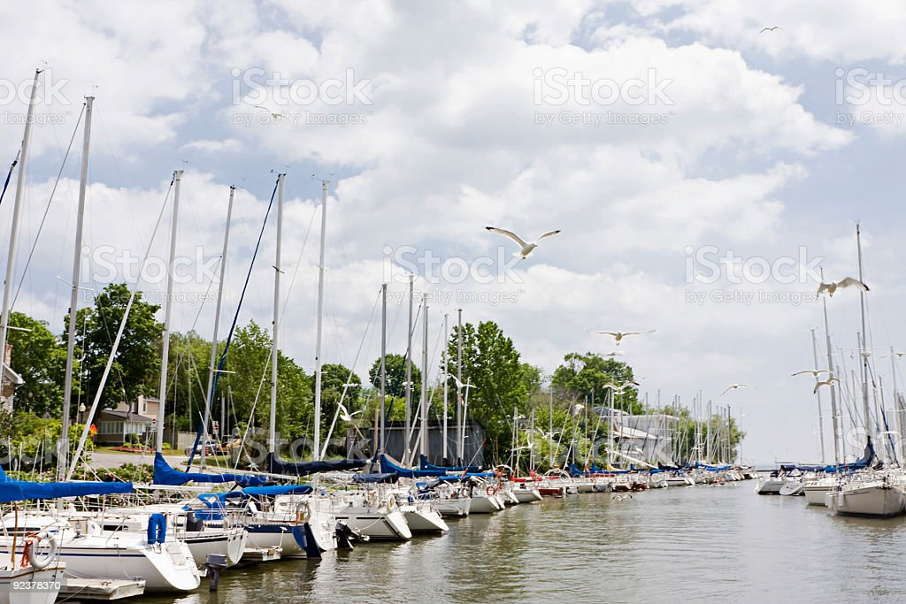 Docked Sailing Boats stock photo