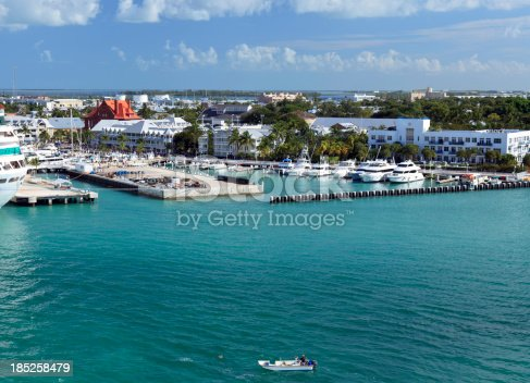 Docking at Key West Florida next to a marina and the famous sites of Key West.