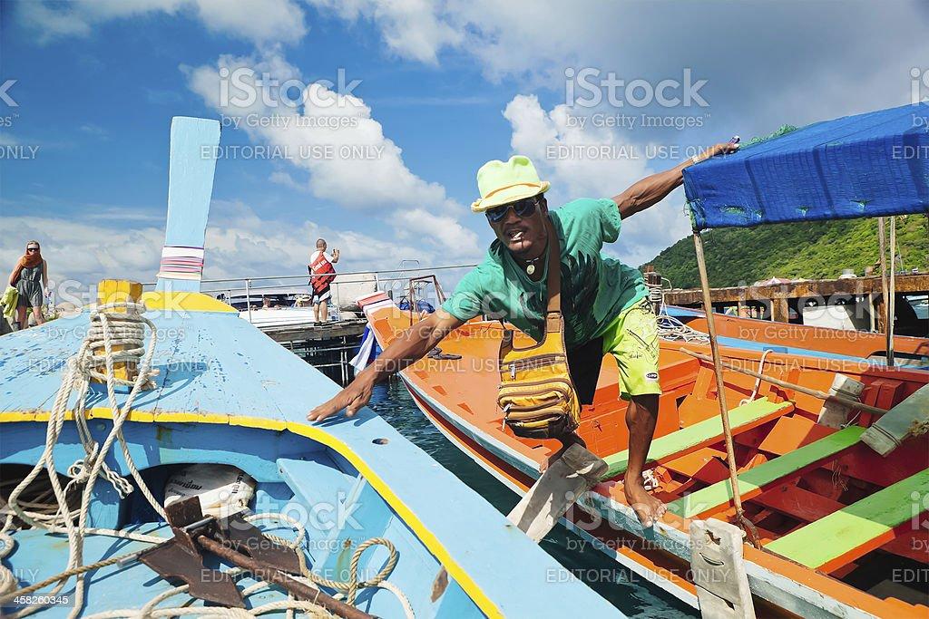 Docking in Ko Nang Yuan, Thailand royalty-free stock photo