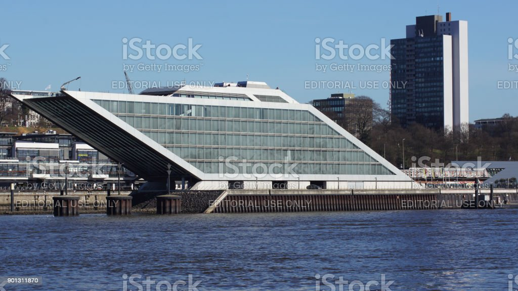 Dockland office building, thanks to its ship shape , the six-storey office building on the banks of the Elbe in Altona is not only an eye-catcher, but also a walk-in sight stock photo