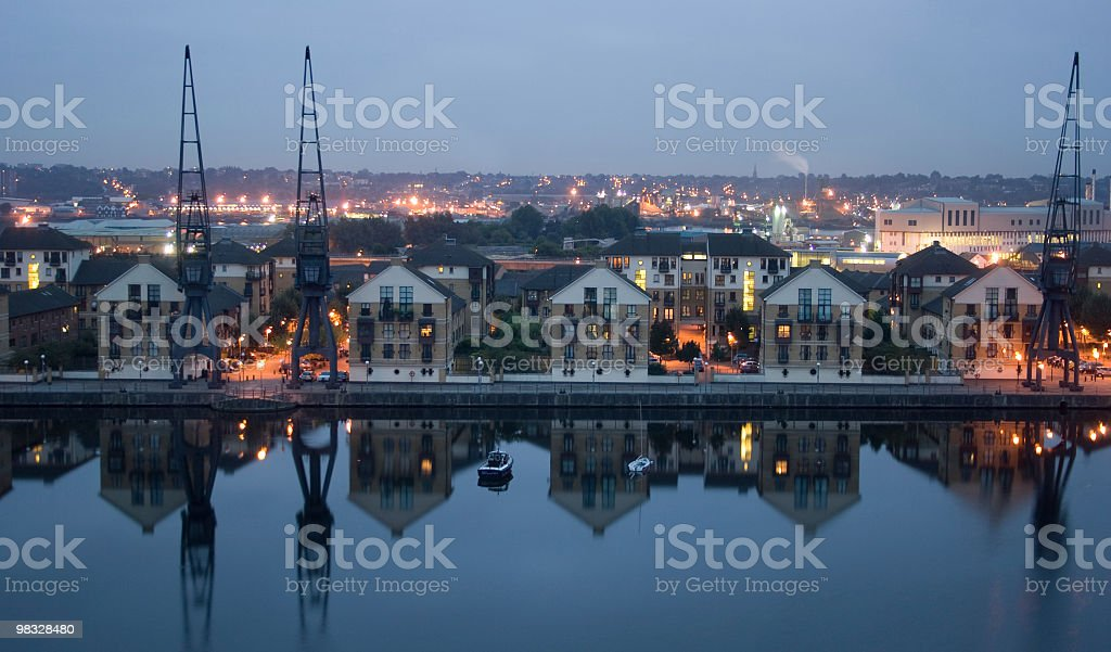 Docklands all'alba foto stock royalty-free