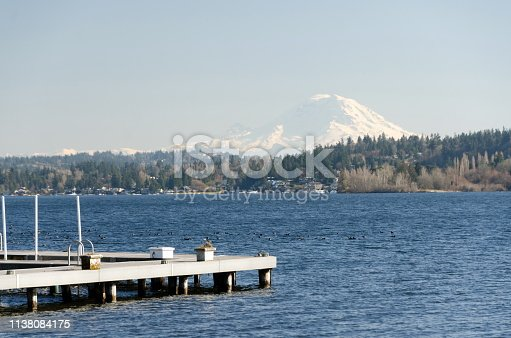 Docks in Medina  with Rainier mountain in the background. Bellevue
