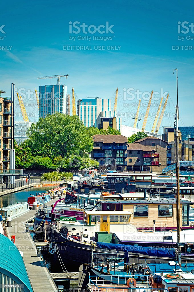 Docks near Canary wharf stock photo