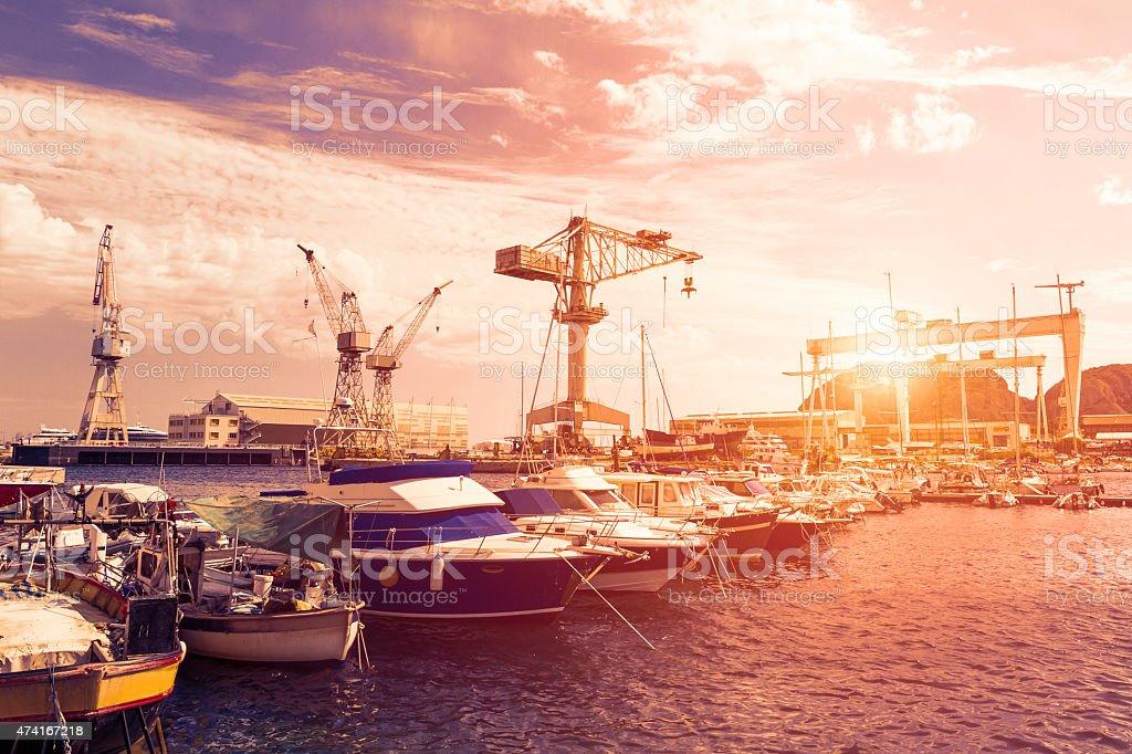 Docks of La Ciotat at sunset (France) stock photo