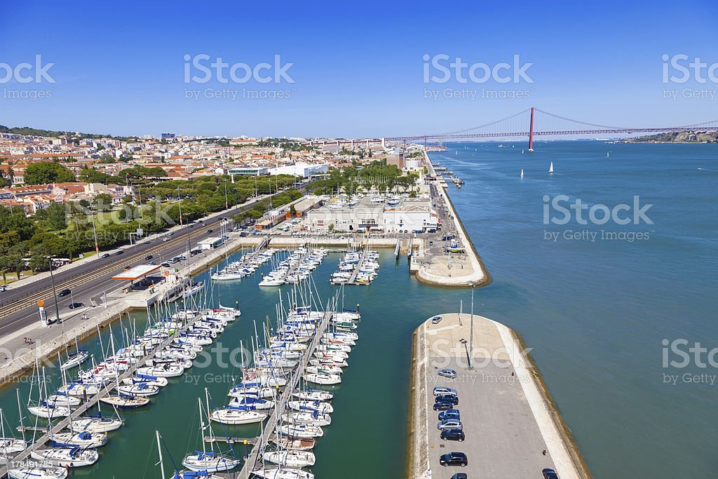 Docks on the banks of River Tagus in Lisbon royalty-free stock photo