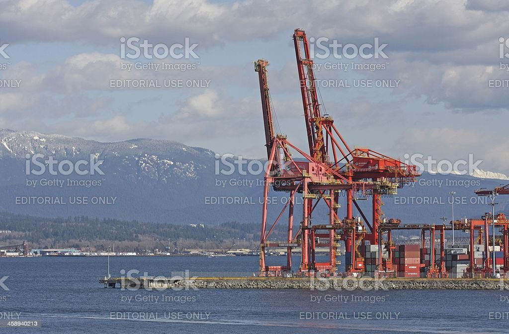 Dockside Gantry Cranes at Centerm, Vancouver Harbour, British Columbia, Canada royalty-free stock photo