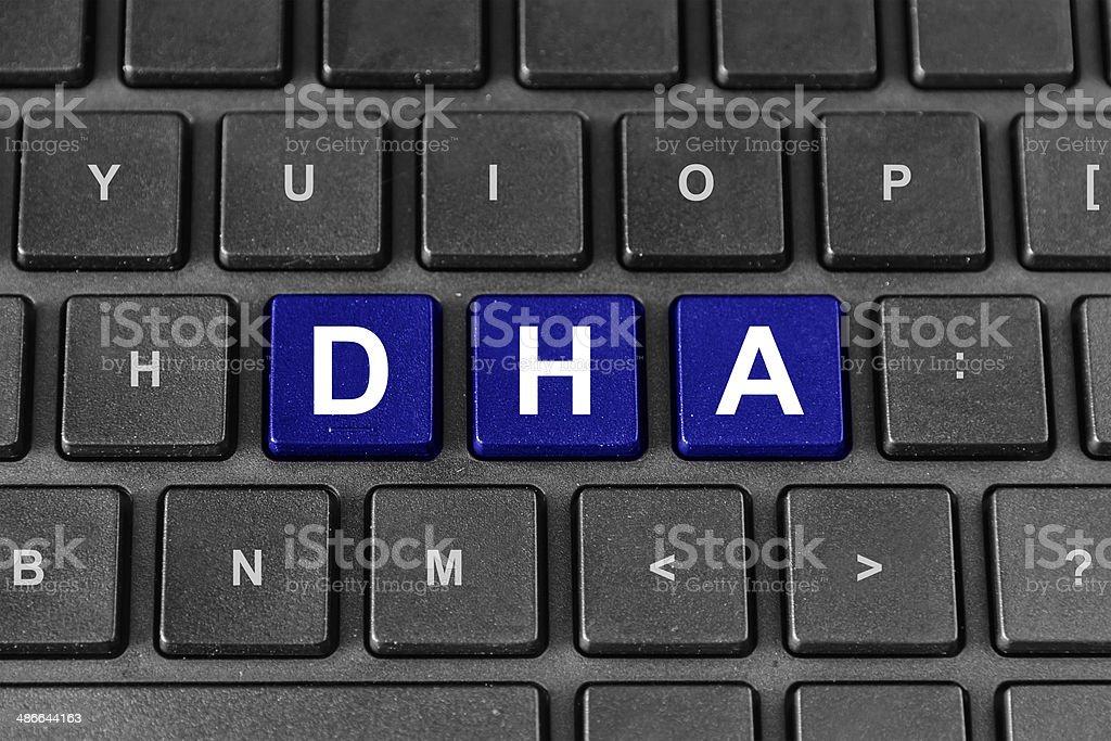 Docosahexaenoic acid or DHA word on keyboard stock photo