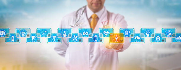 Doctor Accessing Male Patient Log In Blockchain stock photo