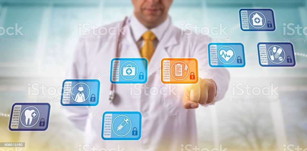 Doctor Accessing Medical Records Via Blockchain stock photo