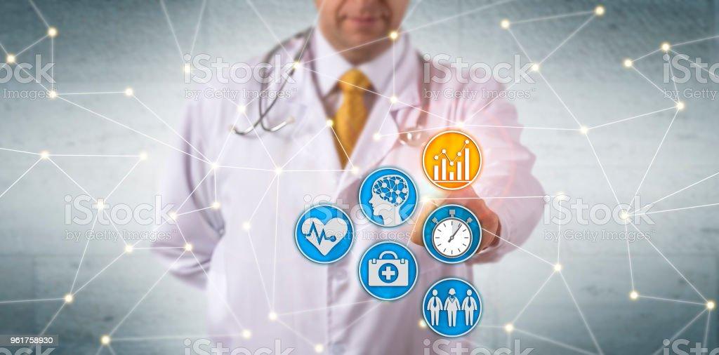 Doctor Activating Predictive Analytics In Network stock photo