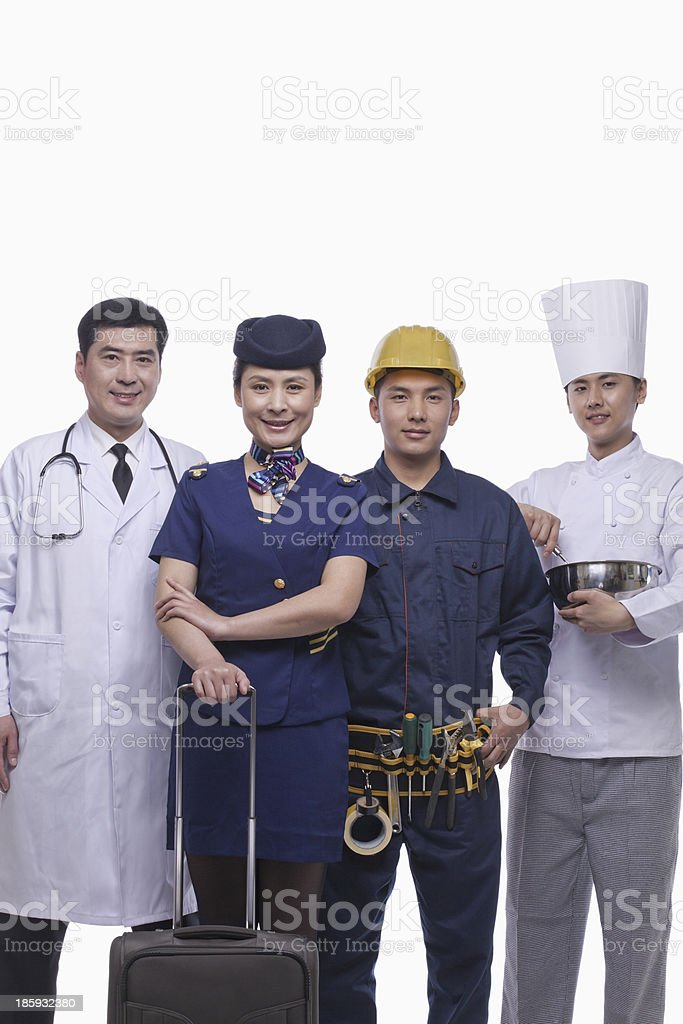 Doctor, Air Stewardess, Construction Worker, and Chef- Studio Shot royalty-free stock photo