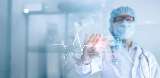 Doctor analyzing and examines data a digital holographic plate the brain of patient in laboratory background, Dementia, Alzheimer, Medical technology stock photo