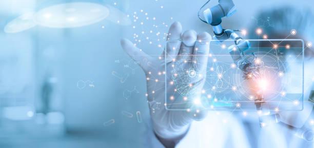 doctor y asistente médico robot análisis y pruebas resultado del adn en la interfaz virtual moderna, la ciencia y la tecnología, innovador y futuro de la atención médica en los antecedentes de laboratorio. - biotecnología fotografías e imágenes de stock