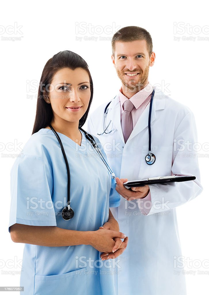 Doctor And Nurse Smiling, Portrait royalty-free stock photo
