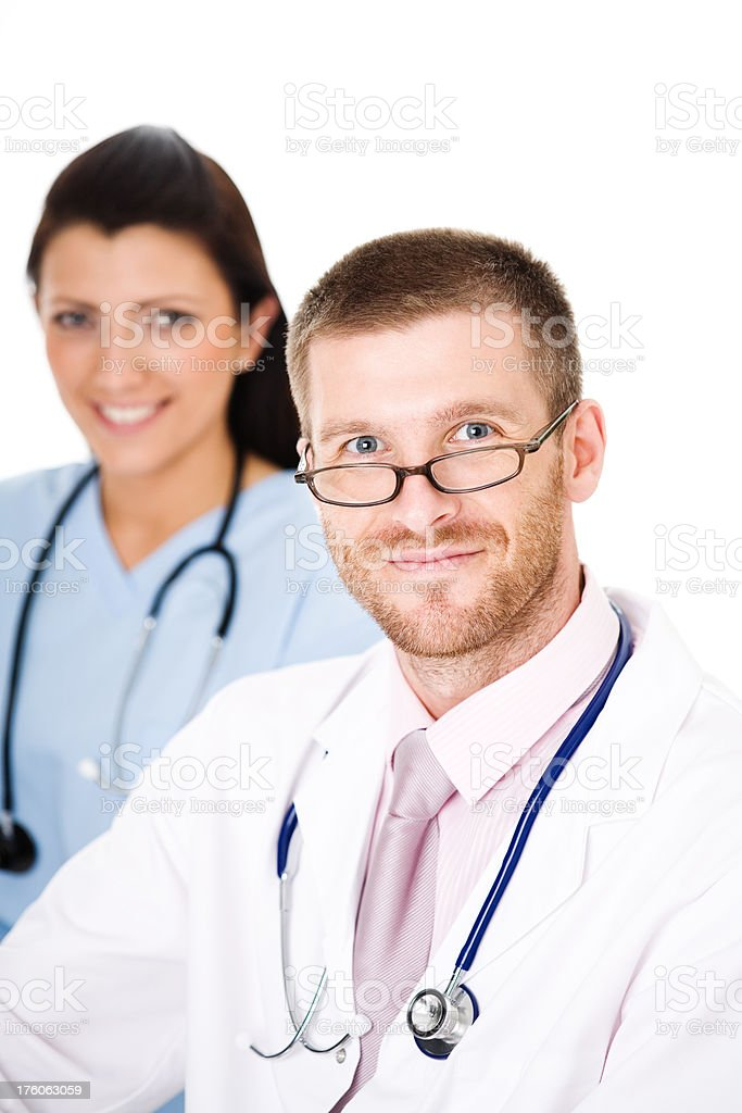 Doctor And Nurse, Studio Portrait royalty-free stock photo