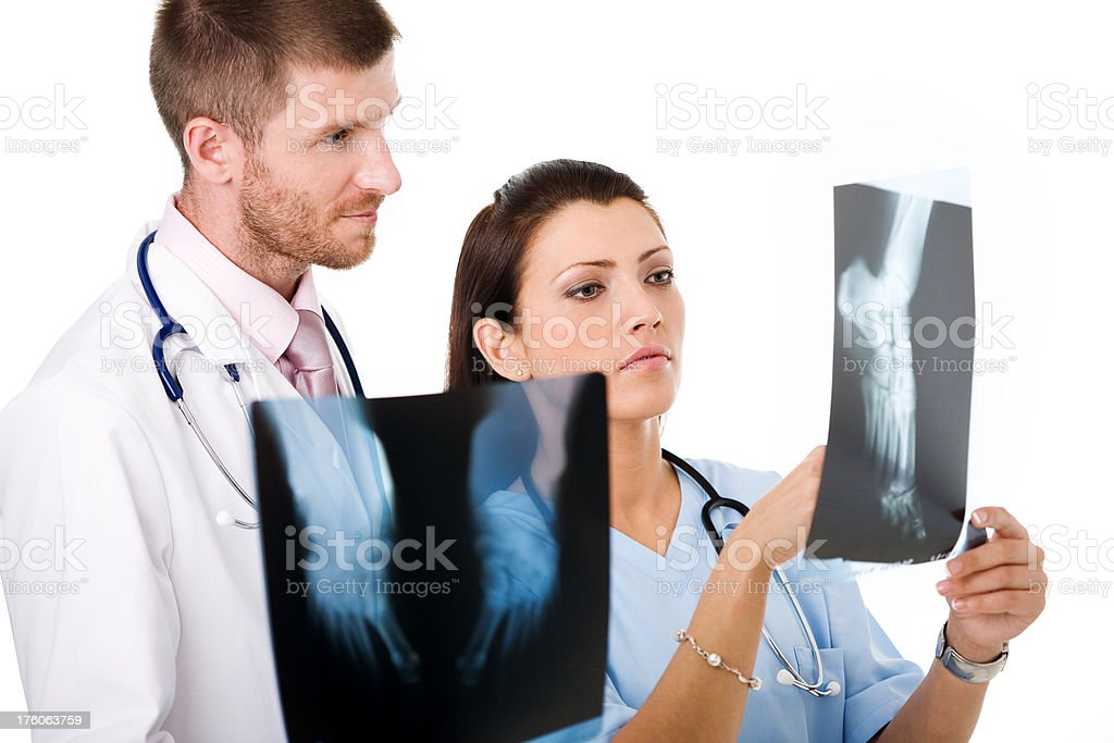 Doctor And Nurse With X-ray Images royalty-free stock photo