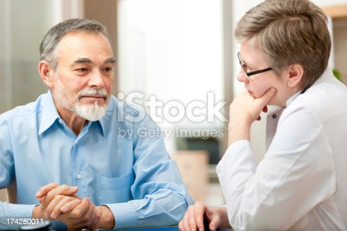 istock Doctor and patient deep in thought in a medical exam 174280011