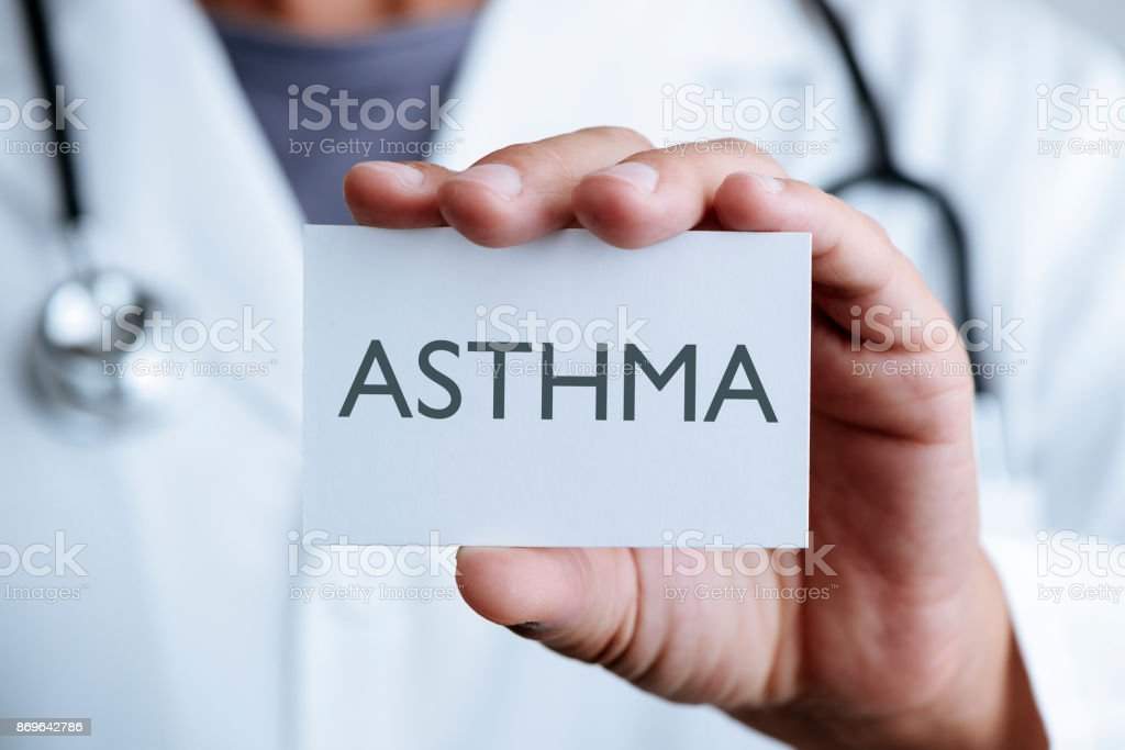doctor and signboard with text asthma stock photo