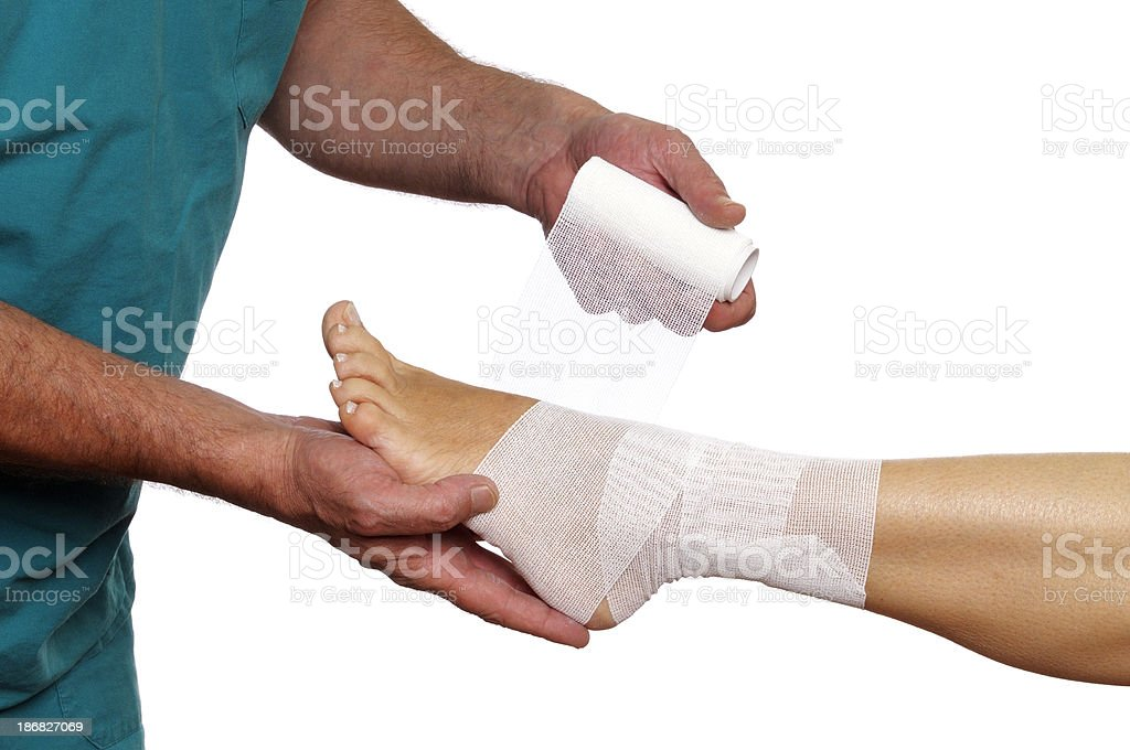Doctor Bandaging Woman Ankle royalty-free stock photo