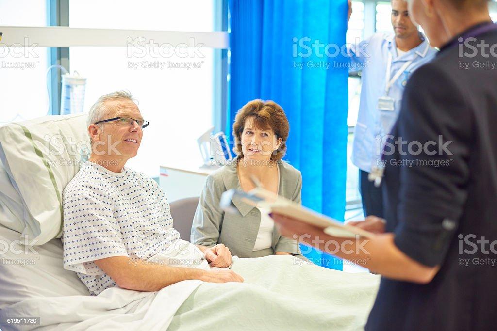 doctor bearing good news stock photo