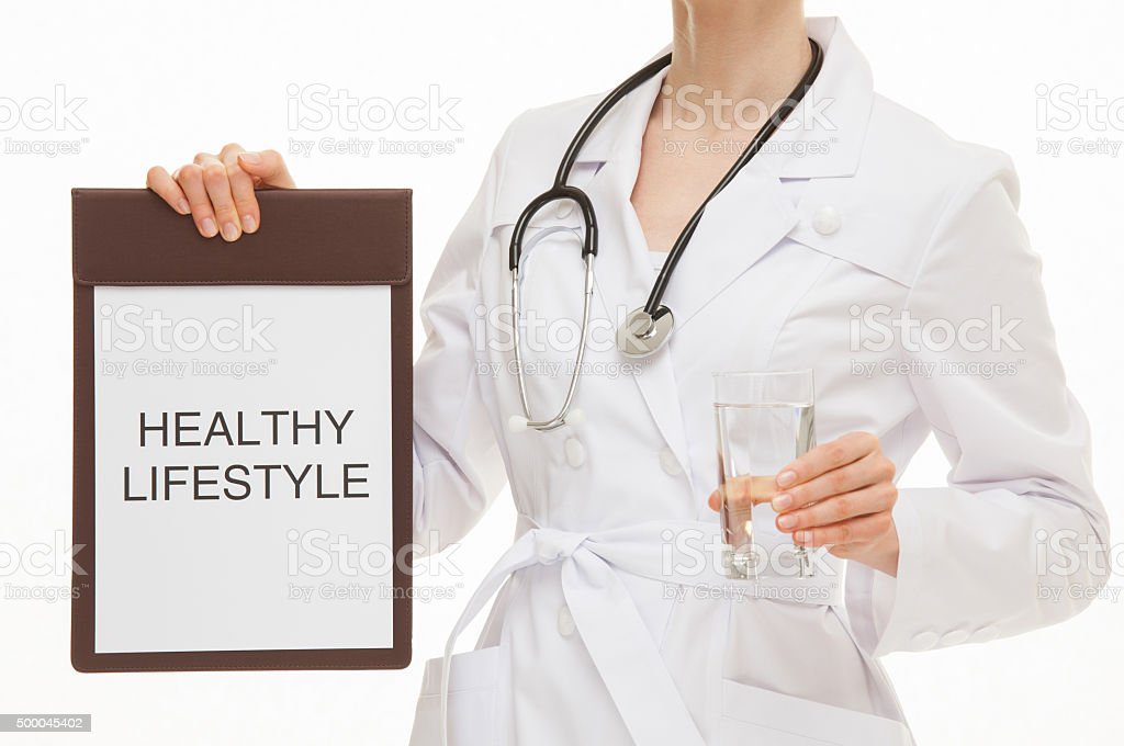 Doctor calling to healthy lifestyle stock photo