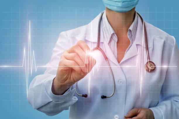 Doctor cardiologist diagnose diagram heart . Doctor cardiologist diagnose diagram heart on a blue background. signature collection stock pictures, royalty-free photos & images