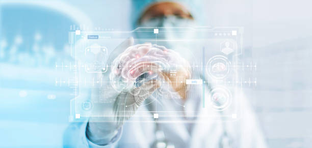 doctor checking brain testing result, analysis with modern virtual interface in laboratory, innovative technology in science and medicine concept - human nervous system stock photos and pictures