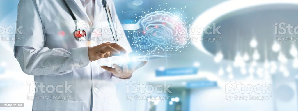 Doctor checking brain testing result with computer interface, innovative technology in science and medicine concept stock photo
