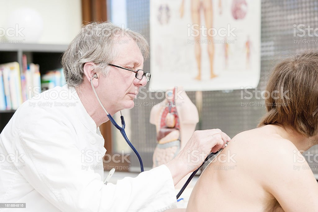 Doctor checking lung stock photo
