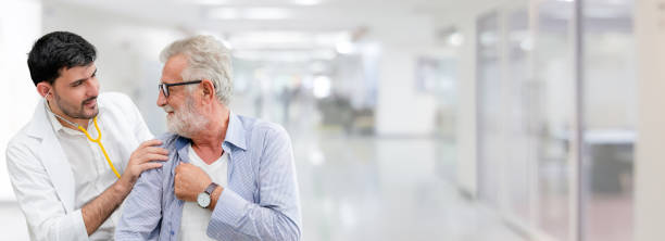 doctor checking patient health in hospital office. - elderly patients stock photos and pictures