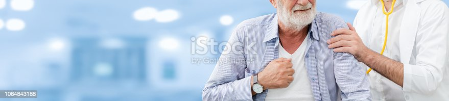 1064843136istockphoto Doctor checking patient health in hospital office. 1064843188