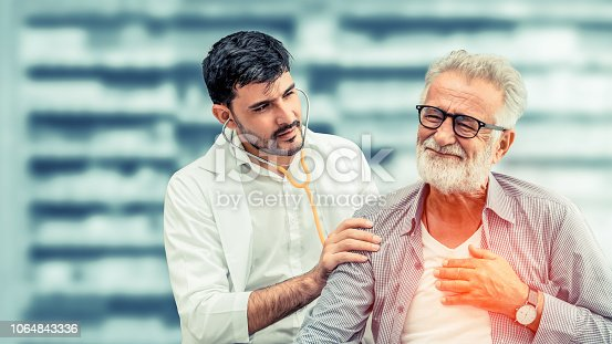 1064843136istockphoto Doctor checking patient health in hospital office. 1064843336
